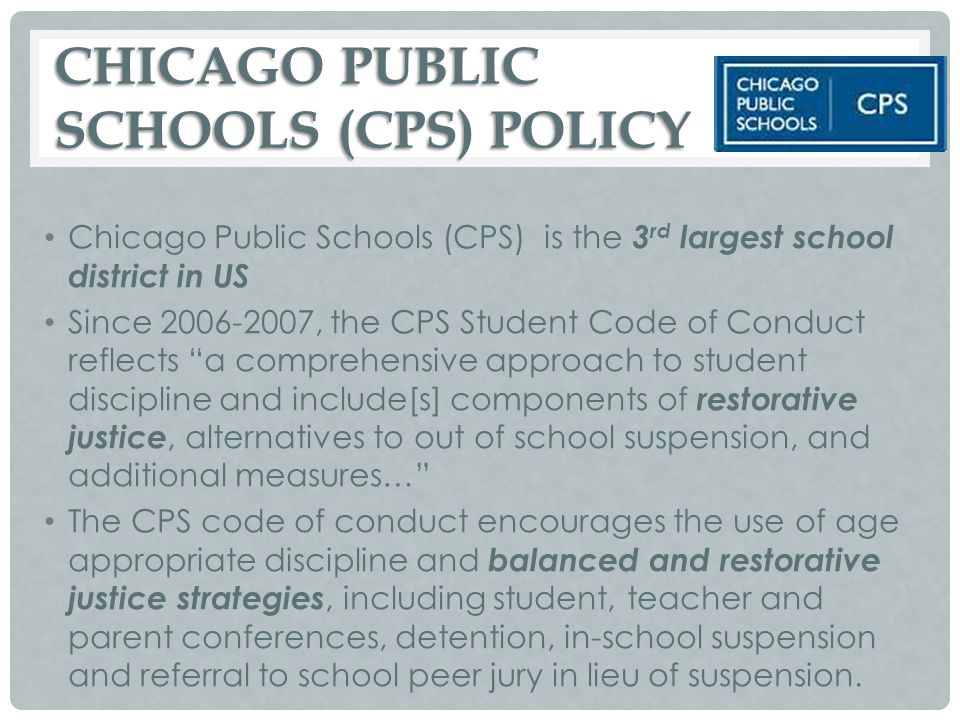 CHICAGO PUBLIC SCHOOLS (CPS) POLICY