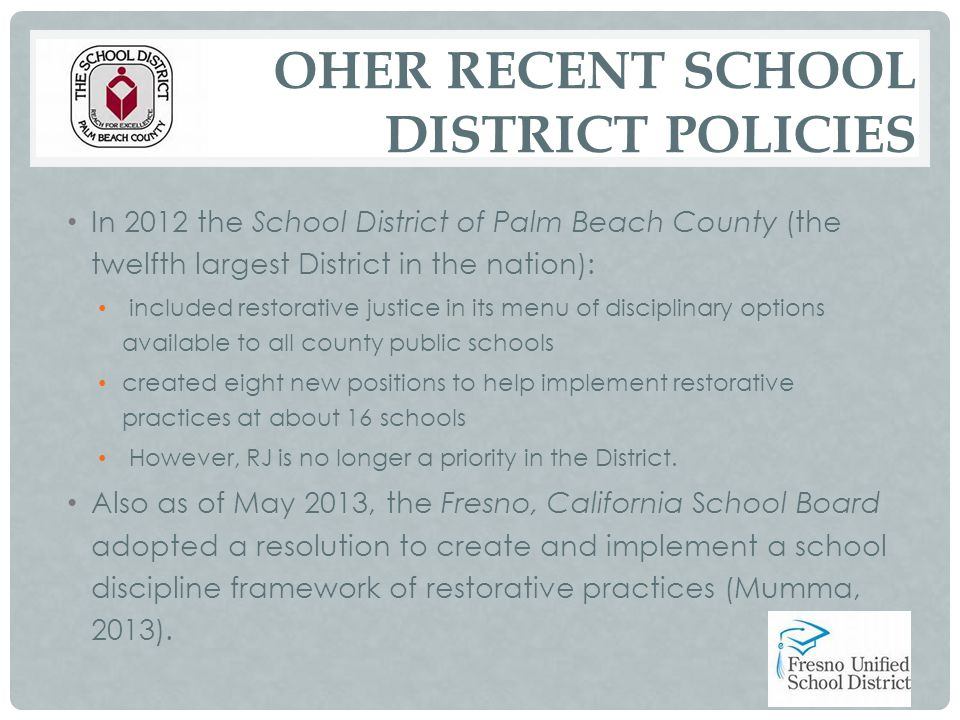 OHER RECENT SCHOOL DISTRICT POLICIES