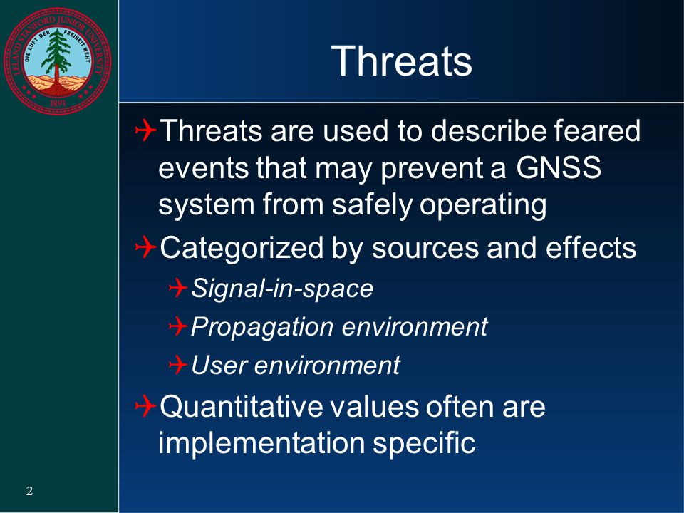 Threats Threats are used to describe feared events that may prevent a GNSS system from safely operating.
