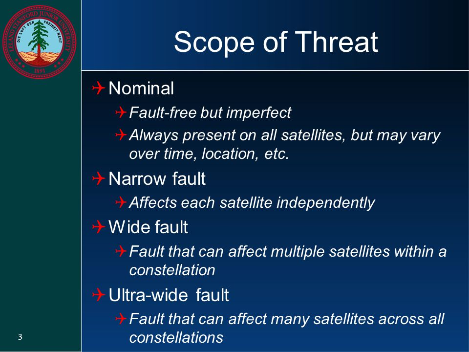 Scope of Threat Nominal Narrow fault Wide fault Ultra-wide fault