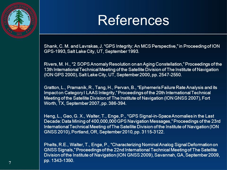 References Shank, C. M. and Lavrakas, J. GPS Integrity: An MCS Perspective, in Proceeding of ION GPS-1993, Salt Lake City, UT, September 1993.