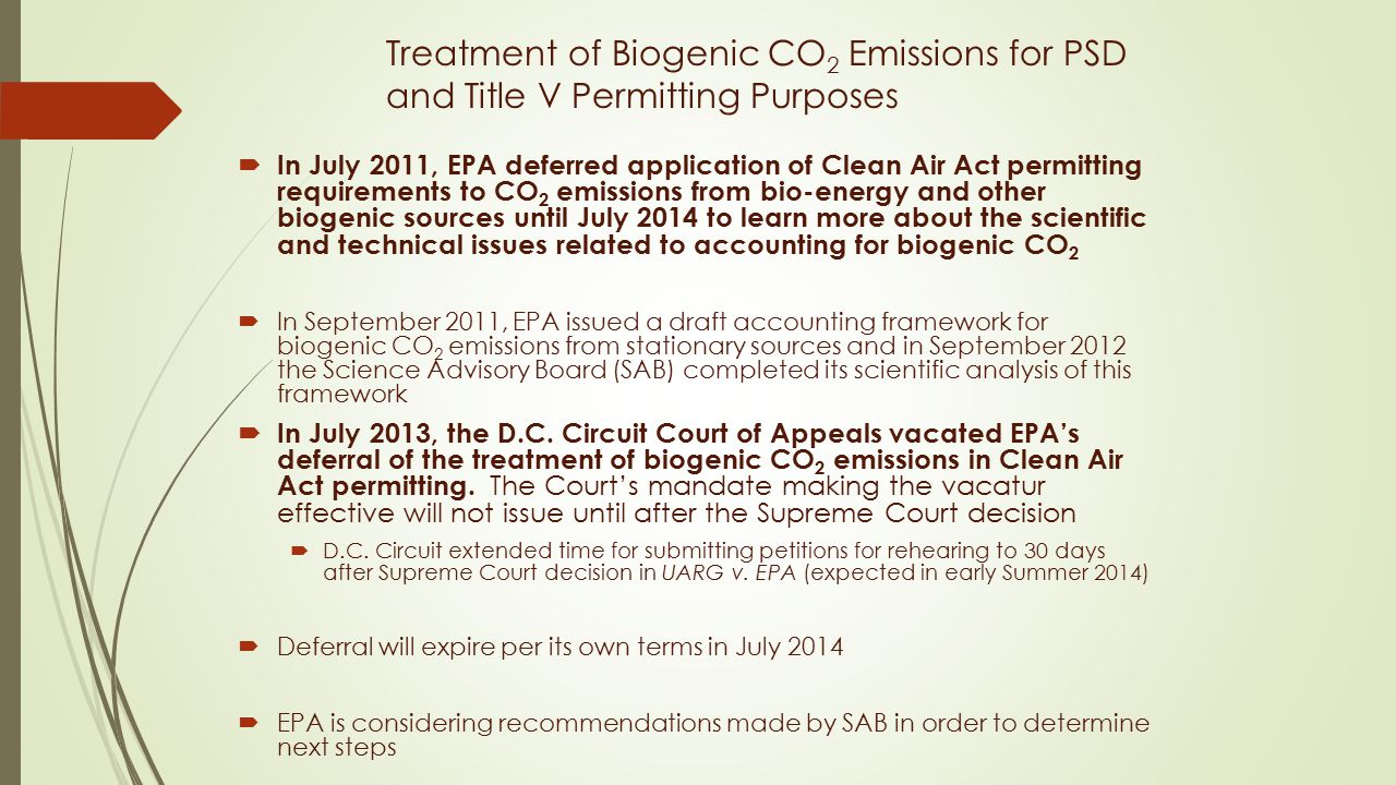 Treatment of Biogenic CO2 Emissions for PSD and Title V Permitting Purposes