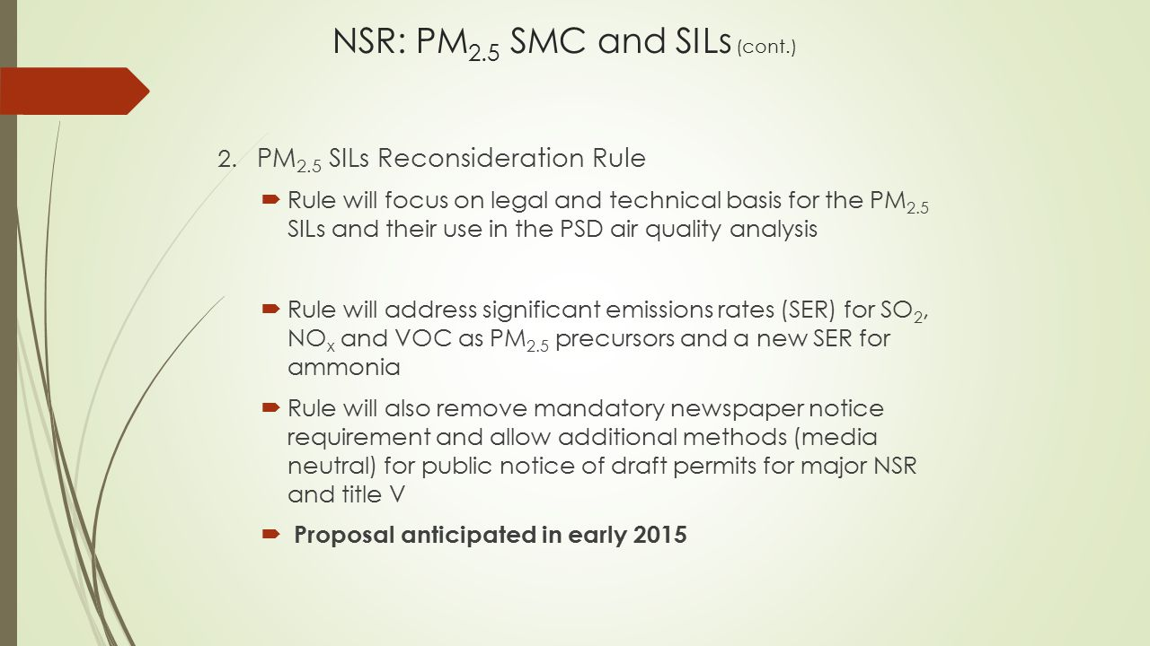 NSR: PM2.5 SMC and SILs (cont.)