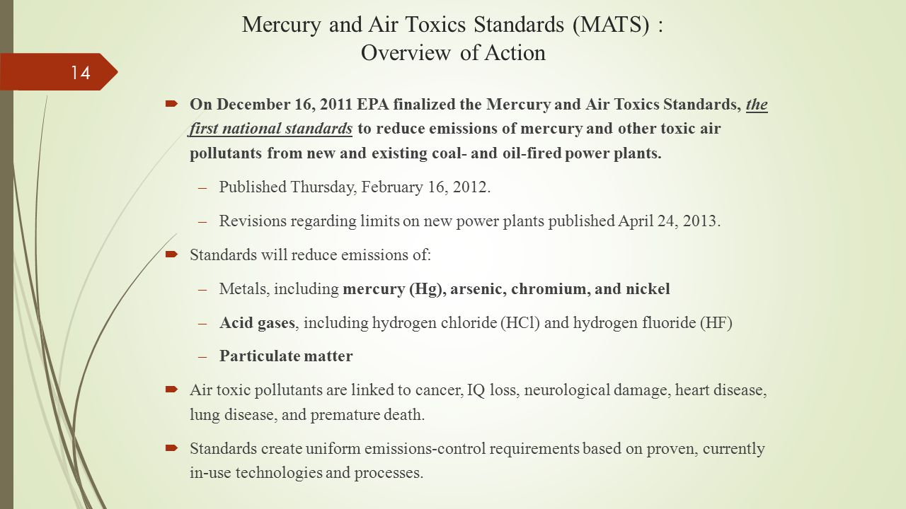 Mercury and Air Toxics Standards (MATS) : Overview of Action