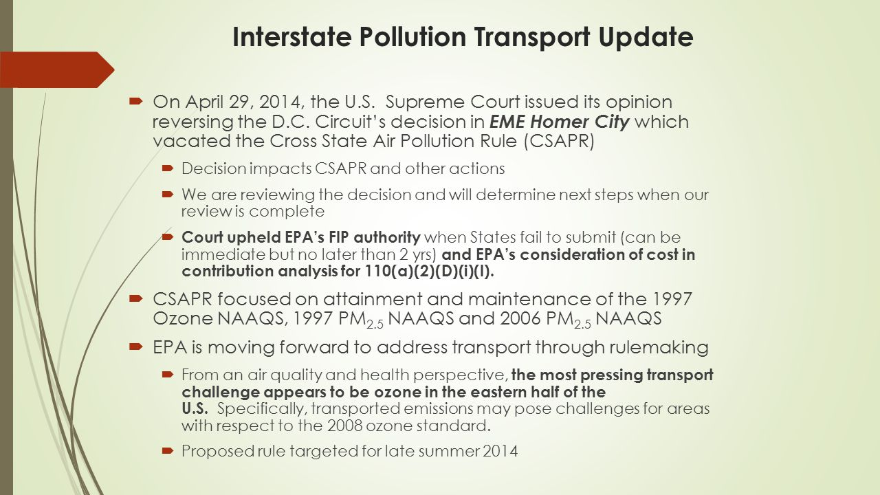 Interstate Pollution Transport Update
