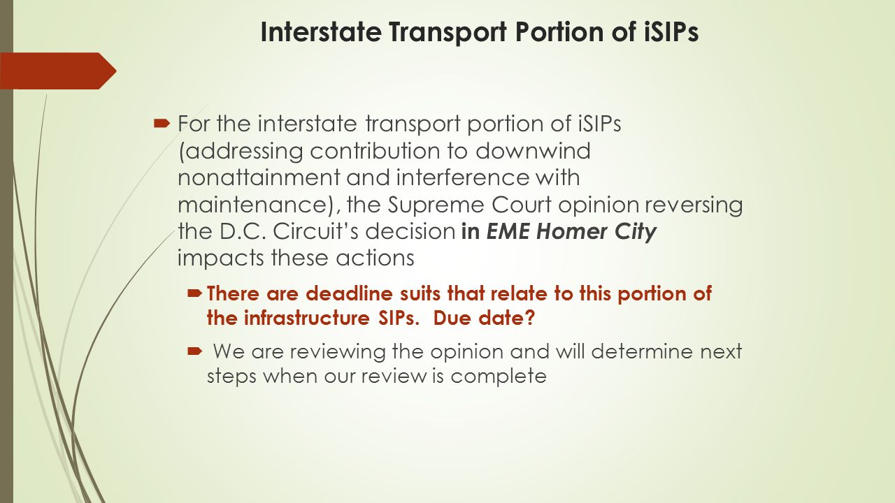 Interstate Transport Portion of iSIPs