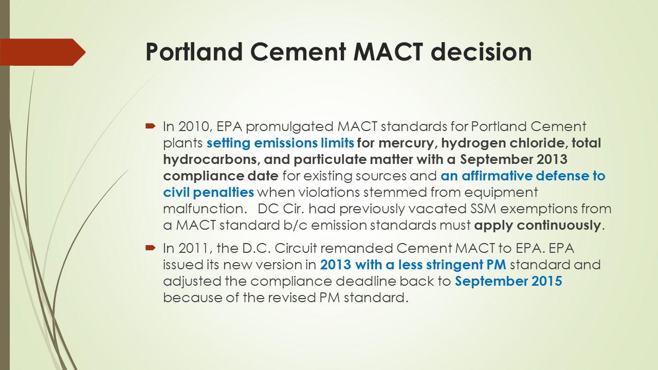 Portland Cement MACT decision