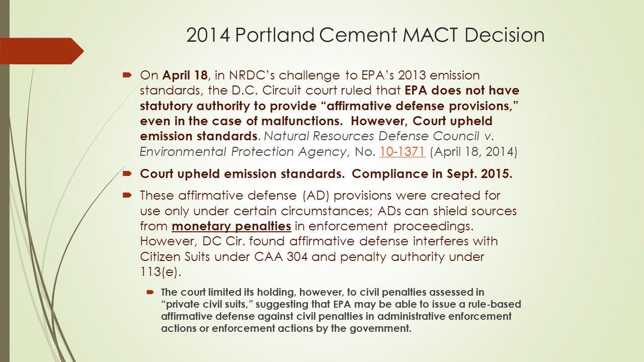 2014 Portland Cement MACT Decision