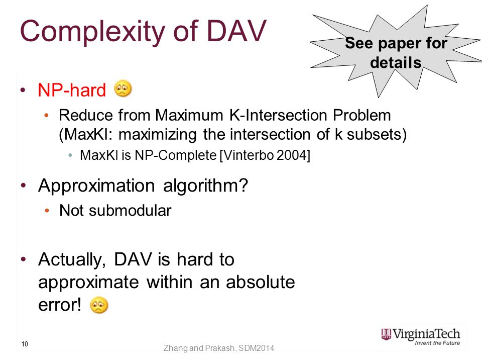 Complexity of DAV NP-hard Approximation algorithm