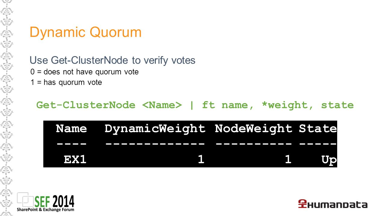 Dynamic Quorum Name DynamicWeight NodeWeight State ---- -------------