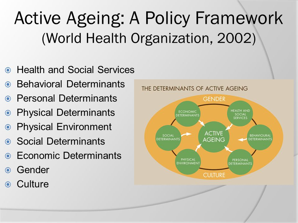 Active Ageing: A Policy Framework (World Health Organization, 2002)