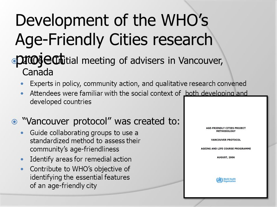 Development of the WHO's Age-Friendly Cities research project