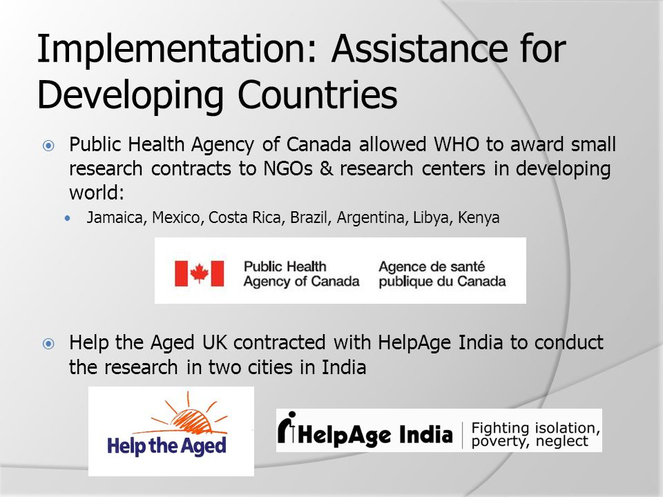 Implementation: Assistance for Developing Countries