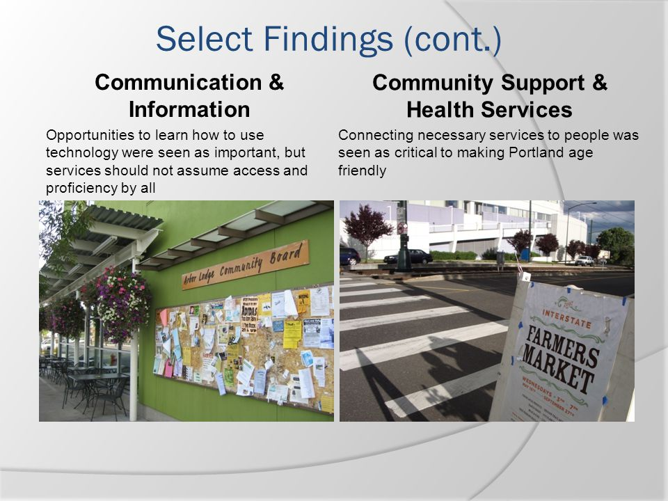 Communication & Information Community Support & Health Services
