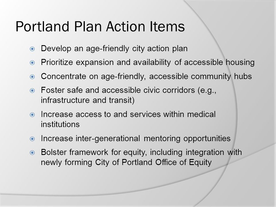 Portland Plan Action Items