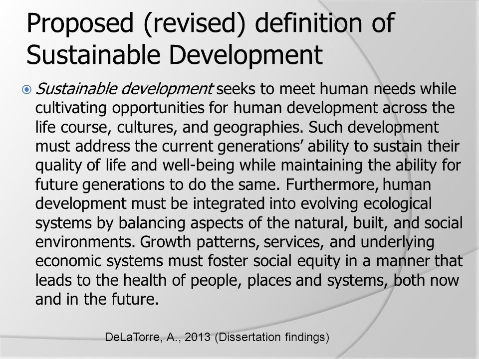 Proposed (revised) definition of Sustainable Development