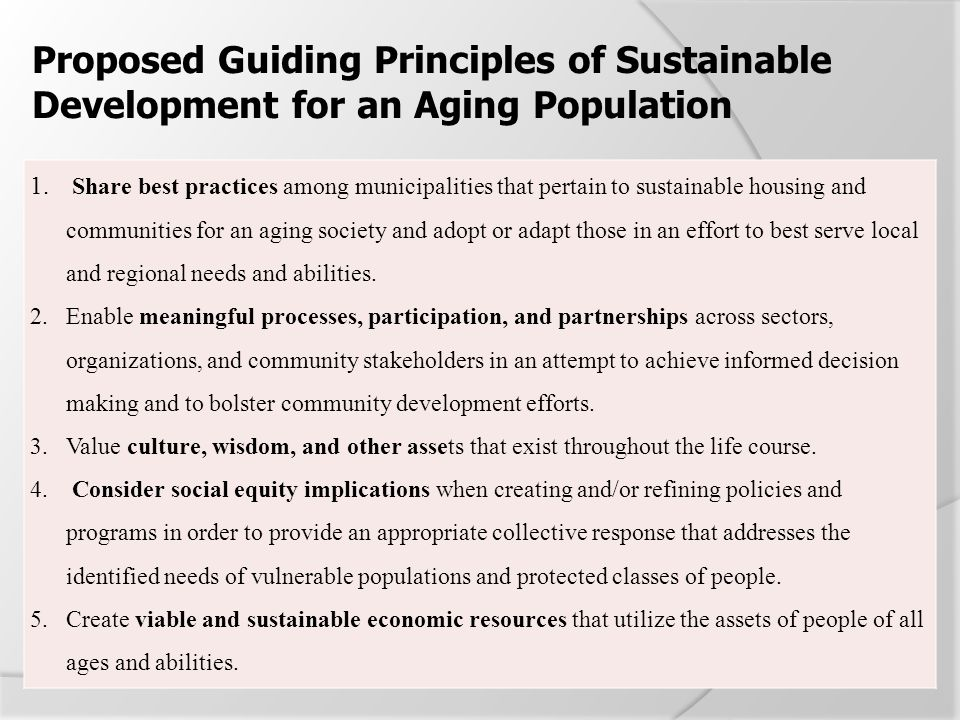 Proposed Guiding Principles of Sustainable Development for an Aging Population