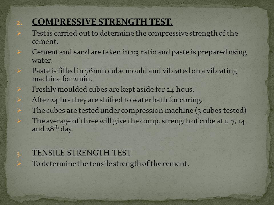 COMPRESSIVE STRENGTH TEST.