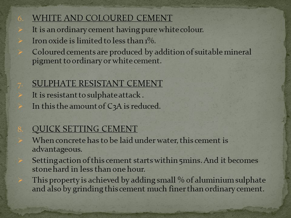 WHITE AND COLOURED CEMENT