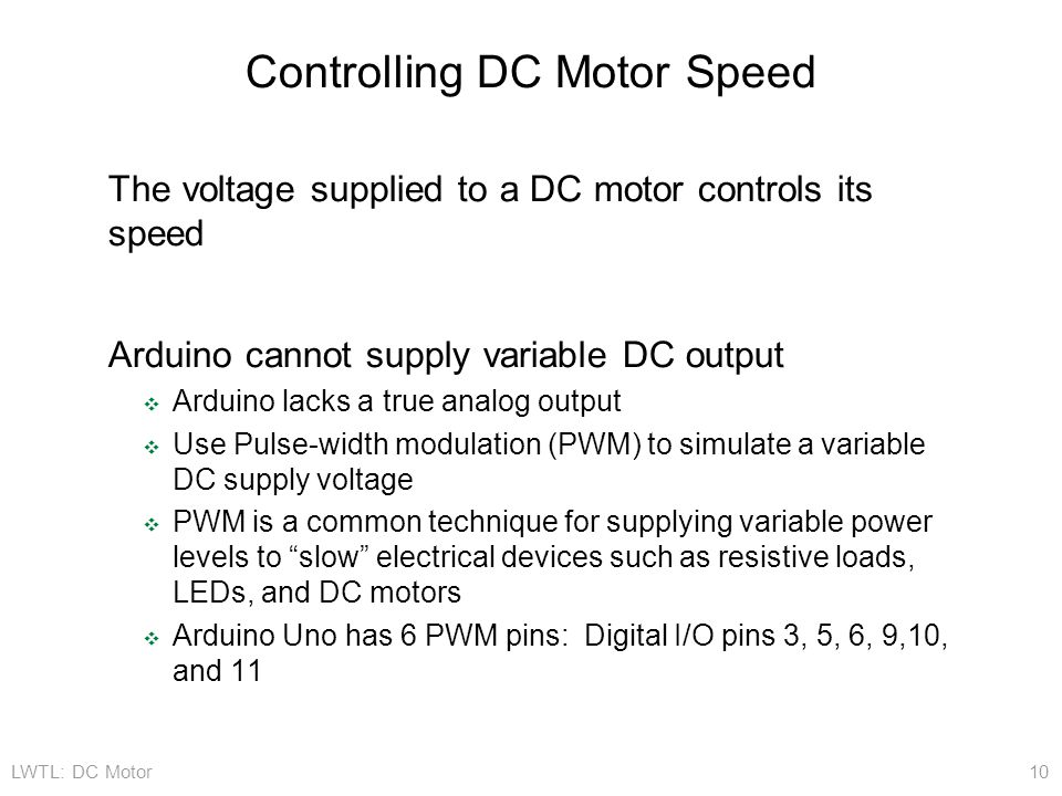 Controlling DC Motor Speed