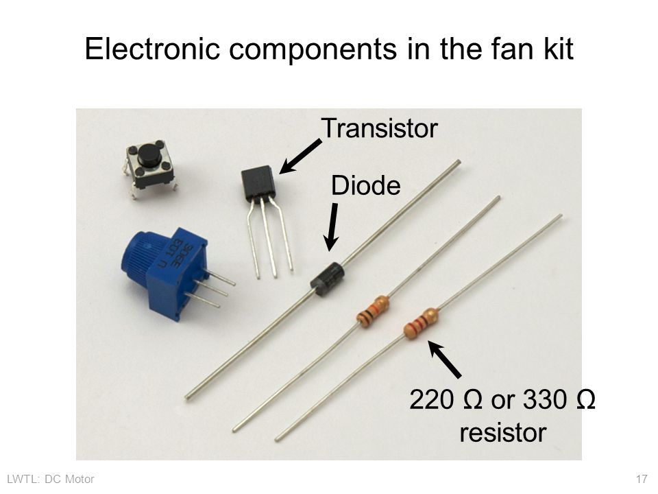 Electronic components in the fan kit