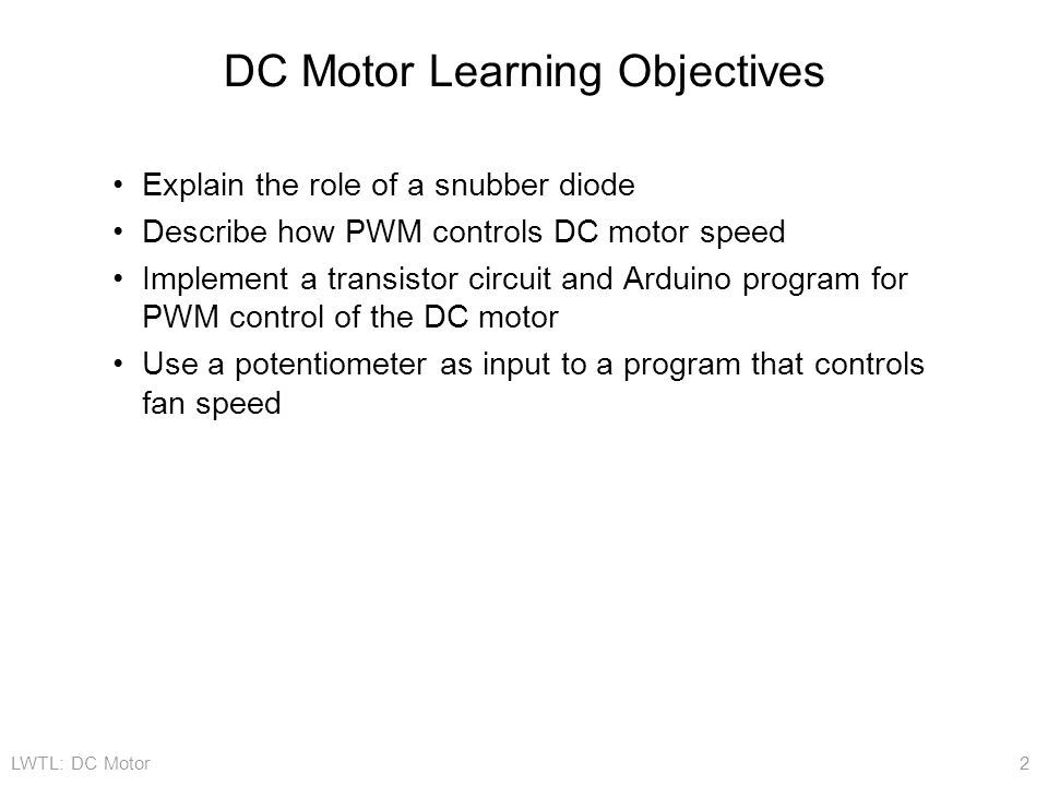 DC Motor Learning Objectives