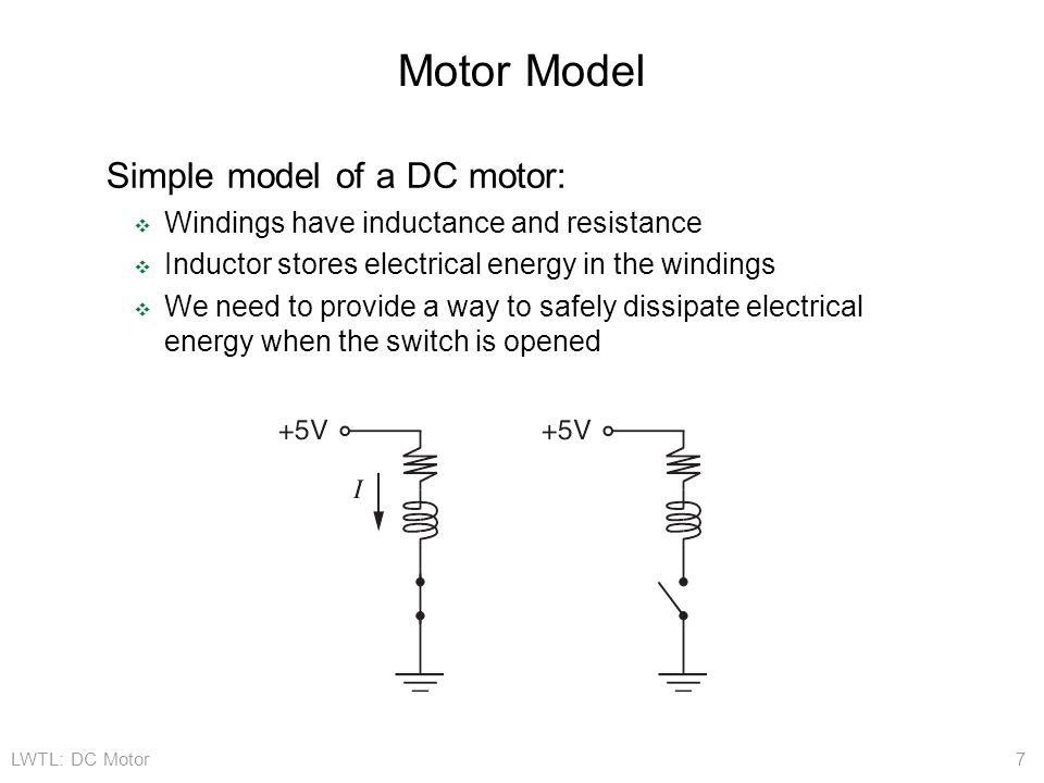 Motor Model Simple model of a DC motor: