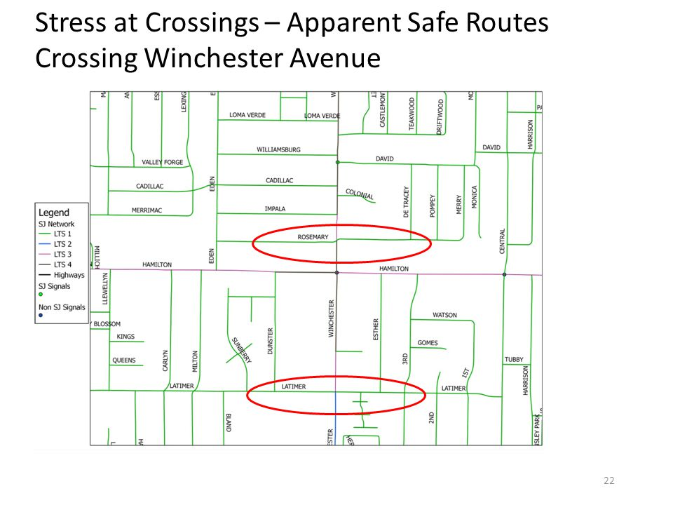 Stress at Crossings – Apparent Safe Routes Crossing Winchester Avenue