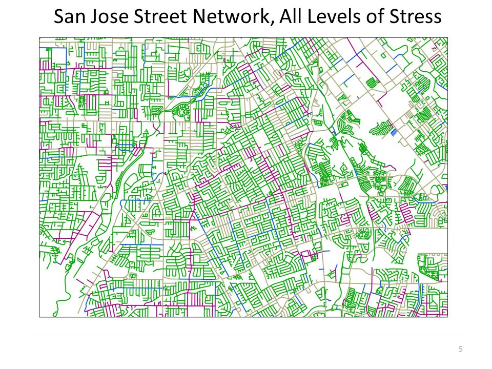 San Jose Street Network, All Levels of Stress