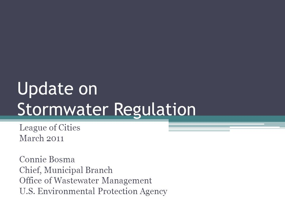 Update on Stormwater Regulation