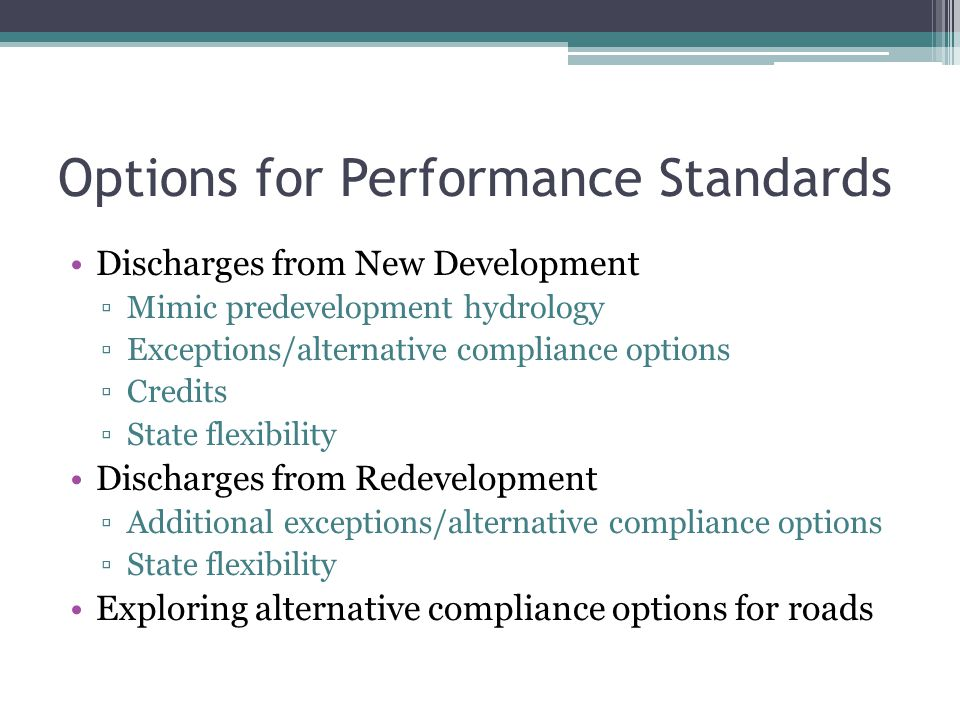 Options for Performance Standards