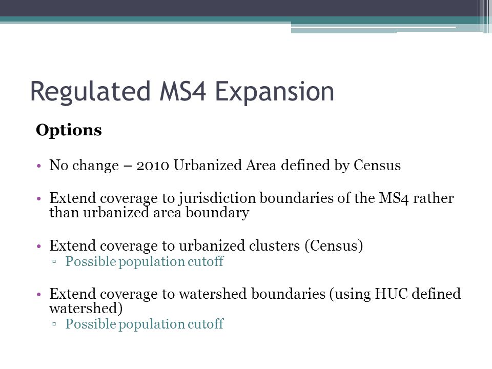 Regulated MS4 Expansion