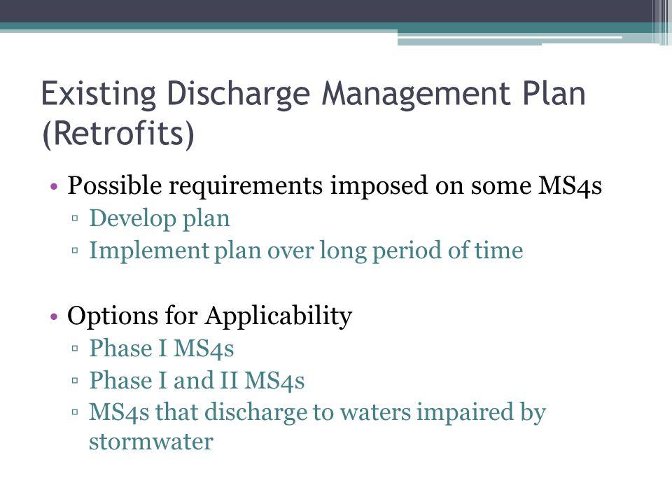 Existing Discharge Management Plan (Retrofits)