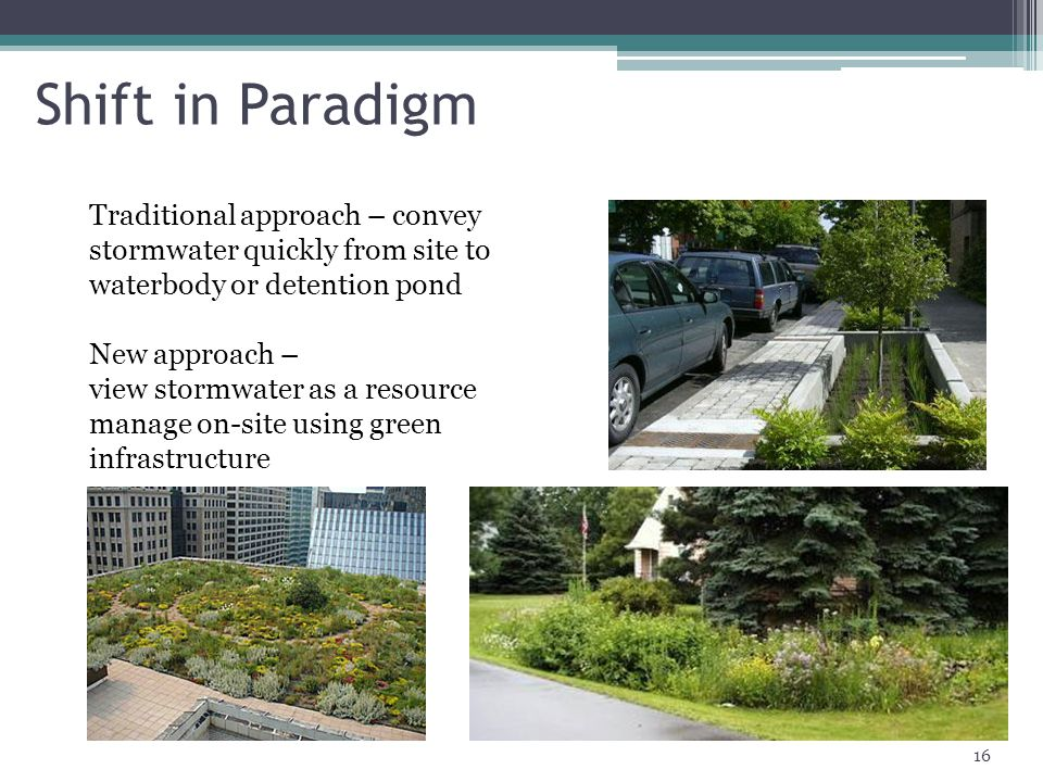 Shift in Paradigm Traditional approach – convey stormwater quickly from site to waterbody or detention pond.