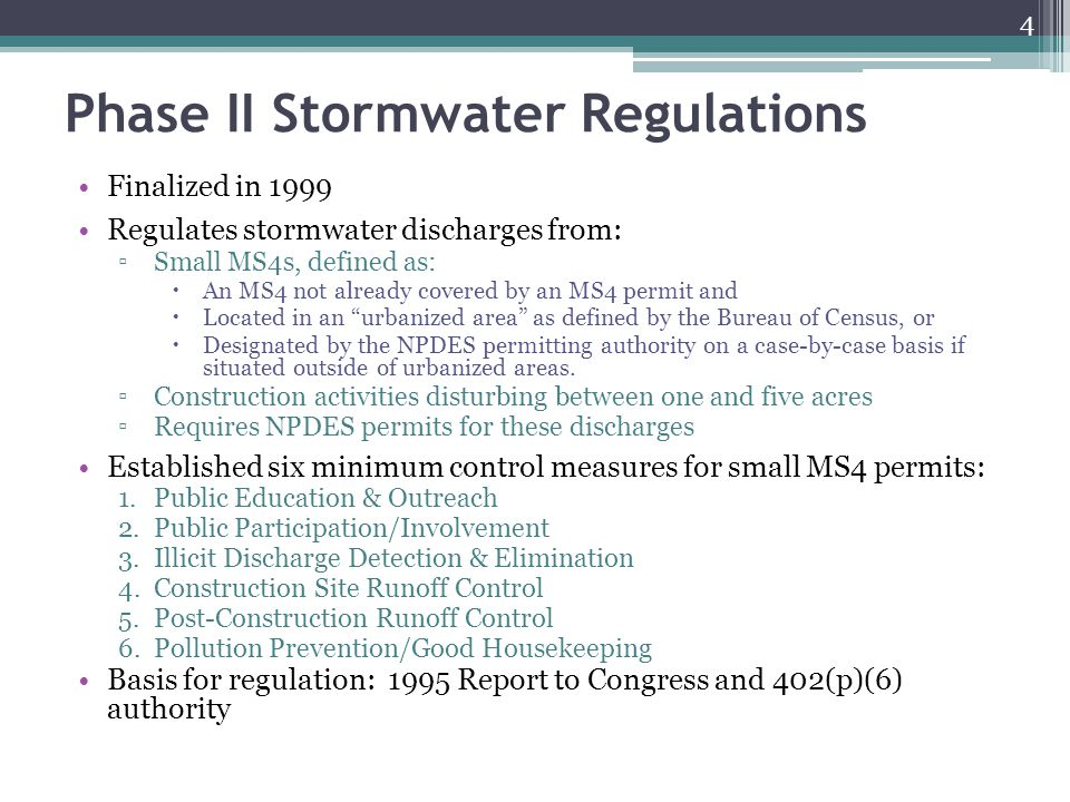 Phase II Stormwater Regulations