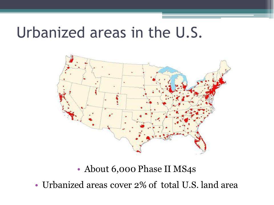 Urbanized areas in the U.S.