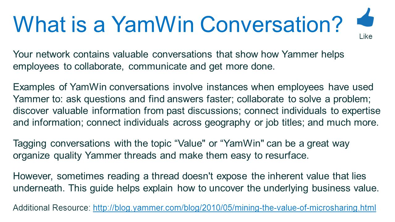 What is a YamWin Conversation