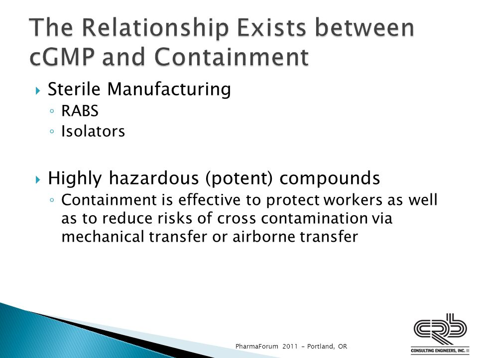 The Relationship Exists between cGMP and Containment