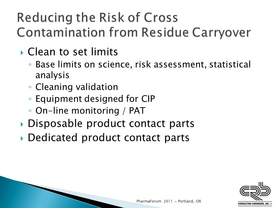 Reducing the Risk of Cross Contamination from Residue Carryover