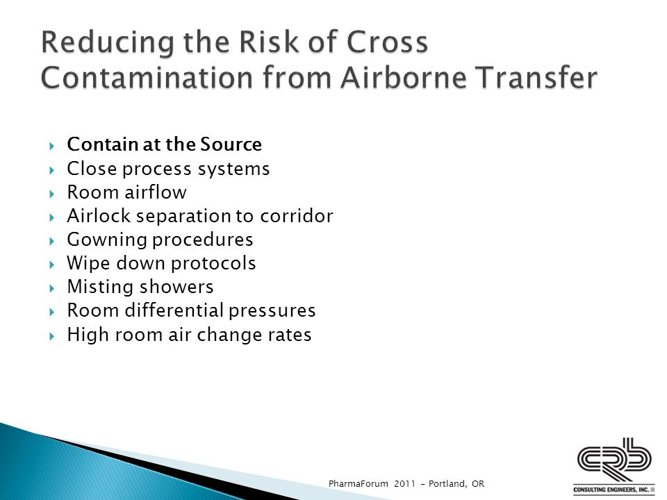 Reducing the Risk of Cross Contamination from Airborne Transfer