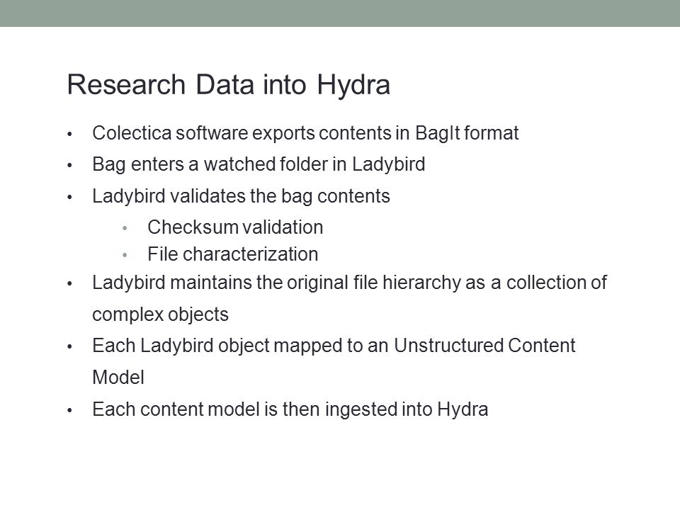 Research Data into Hydra