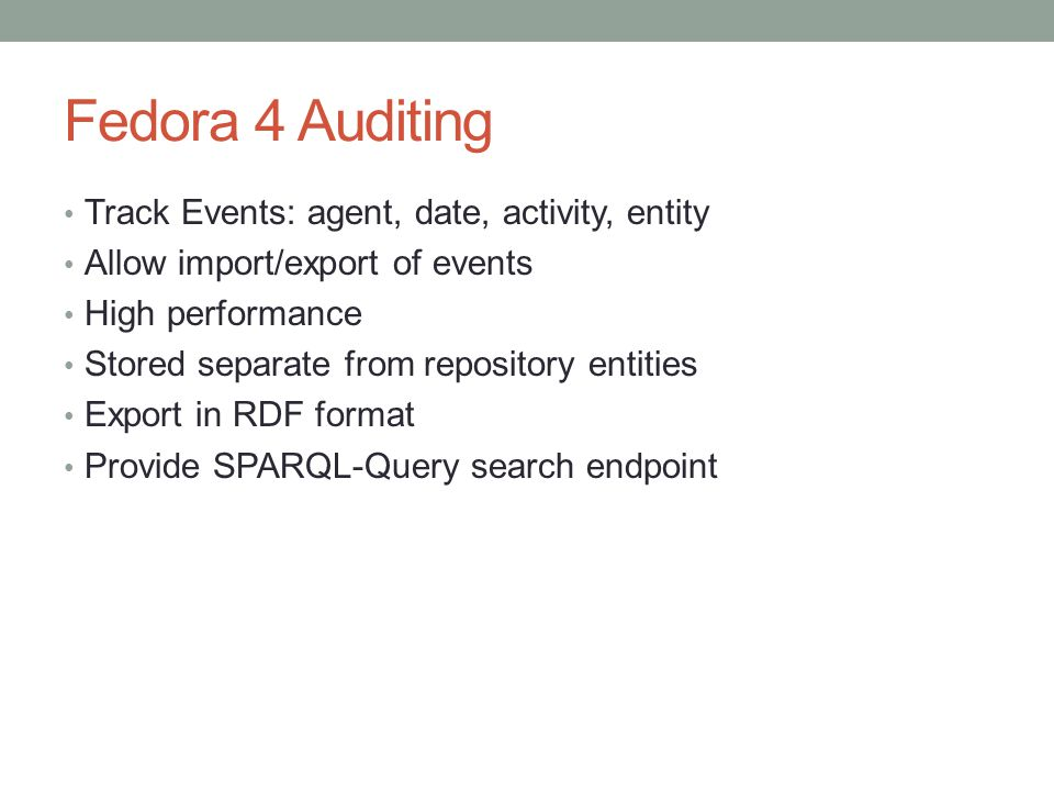 Fedora 4 Auditing Track Events: agent, date, activity, entity