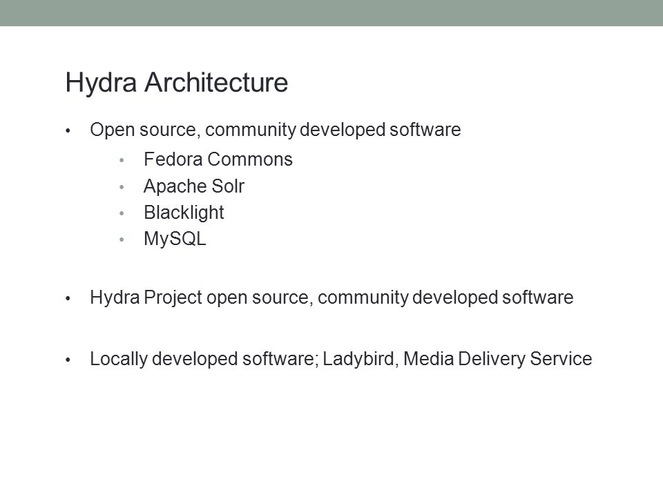 Hydra Architecture Open source, community developed software