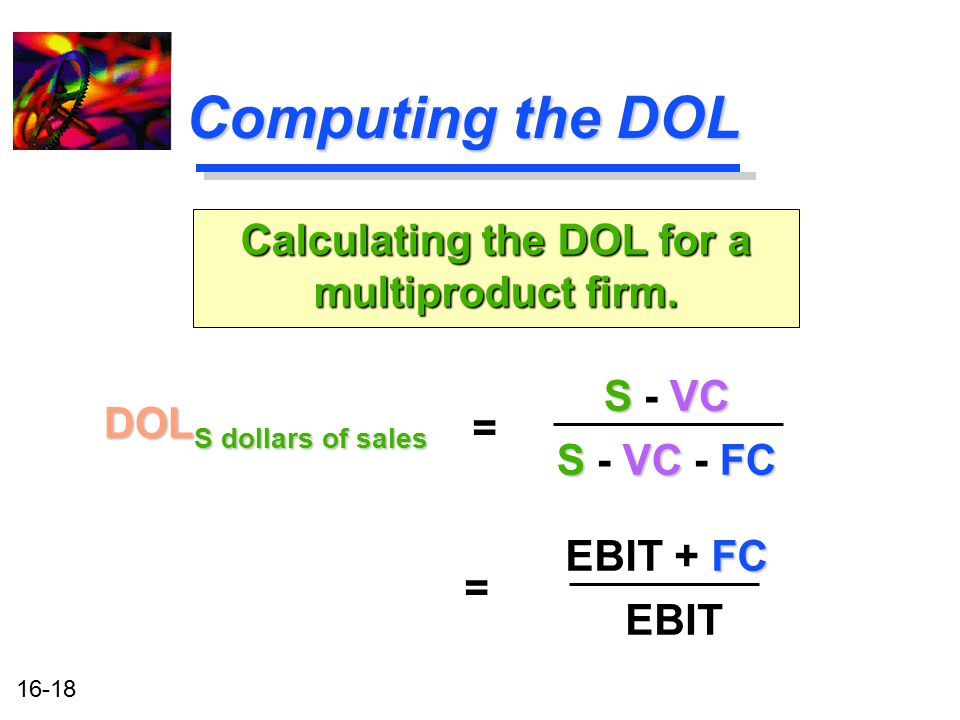 Calculating the DOL for a multiproduct firm.