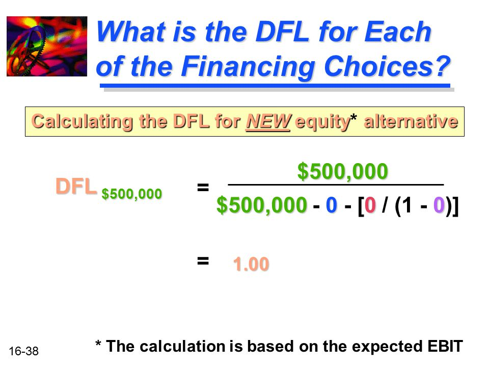 What is the DFL for Each of the Financing Choices