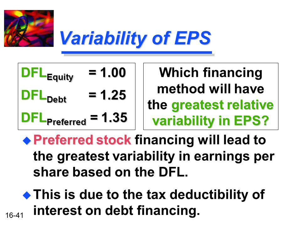 Variability of EPS DFLEquity = 1.00 DFLDebt = 1.25 DFLPreferred = 1.35