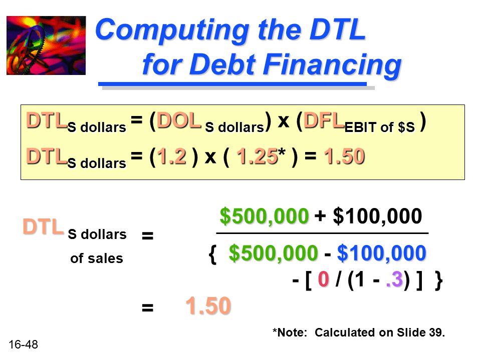 Computing the DTL for Debt Financing