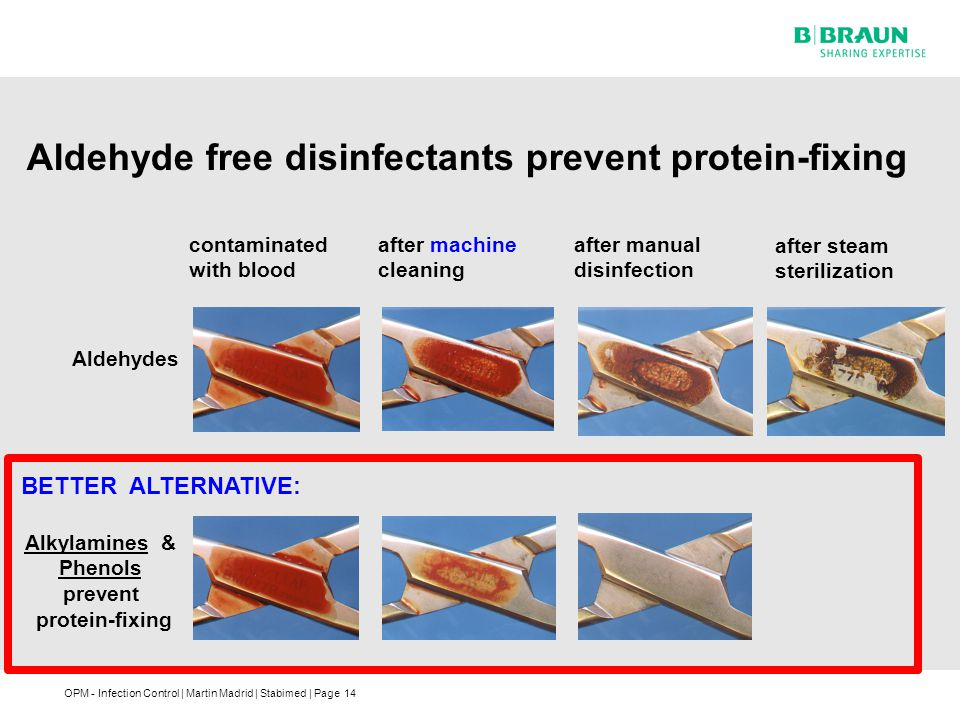 Aldehyde free disinfectants prevent protein-fixing