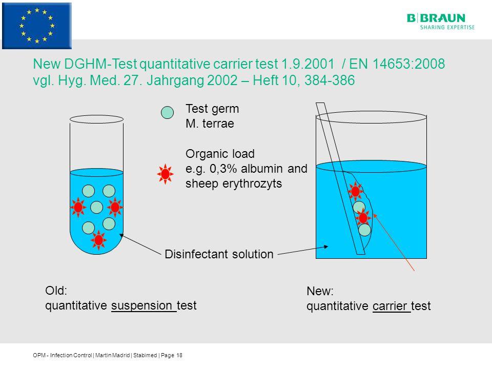 New DGHM-Test quantitative carrier test 1. 9. 2001 / EN 14653:2008 vgl