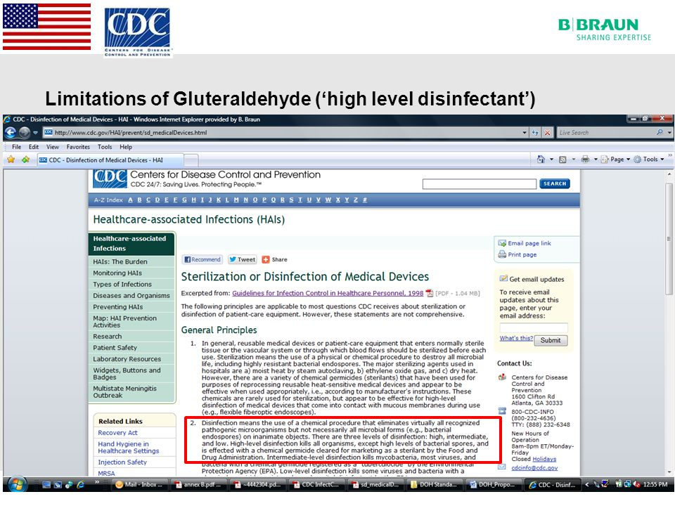 Limitations of Gluteraldehyde ('high level disinfectant')
